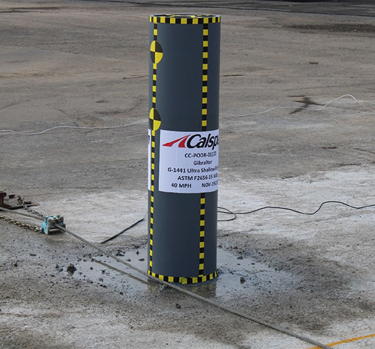 ultra shallow safety bollard before impact